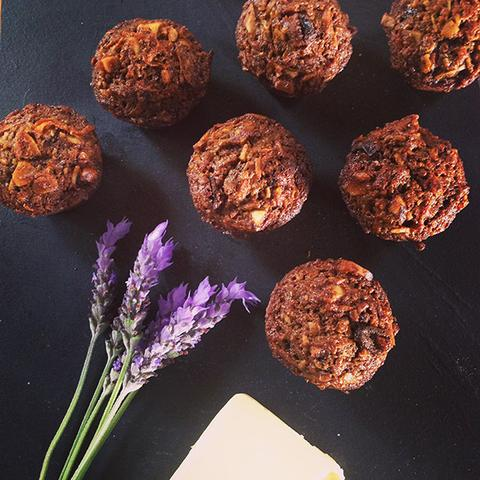 Gluten Free Carrot and Brazil Nut Mini Muffins with Coconut Cream