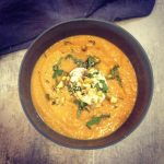 Pumpkin and Sweet Potato Soup with Kaffir Lime and Lemongrass Infusion