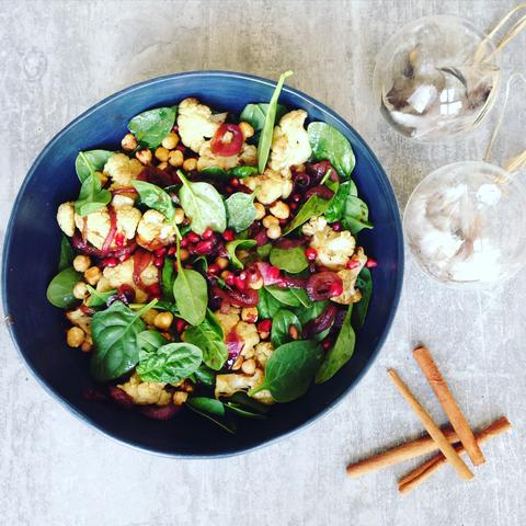 Spicy Cauliflower and Chickpea Salad